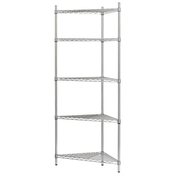 Wire 5-Shelf Corner Unit, Chrome