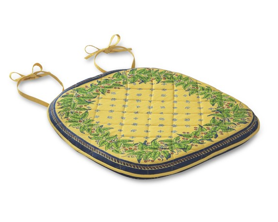 Provence Quilted Chair Pads, Yellow, Set of 4