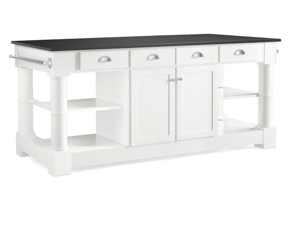 Barrelson Kitchen Island with Absolute Black Top, Polished Nickel