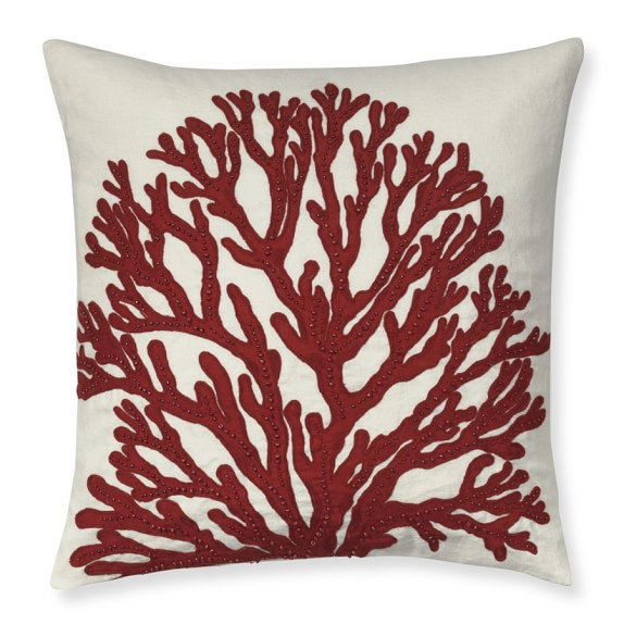 Coral Applique Pillow Cover With Beads, 20