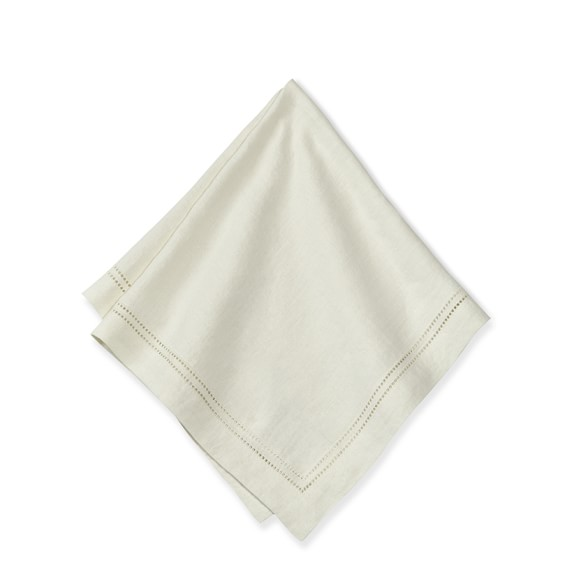 Linen Double Hemstitch Napkins, Set of 4, Cream