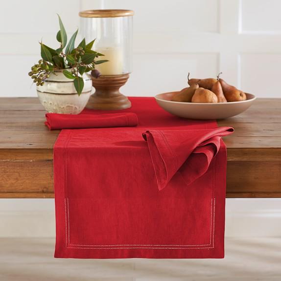 Linen Double Hemstitch Table Runner, Red