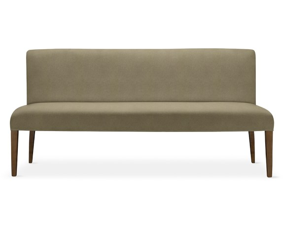 Fitzgerald Dining Bench, Mahogany, Wool Flannel, Dove