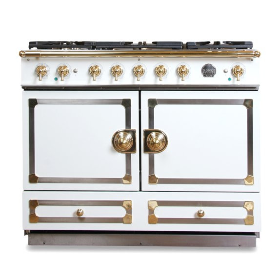La Cornue CornuFé Stove, Ivory White with Chrome & Brass