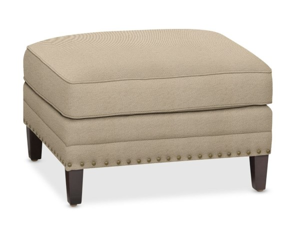 Addison Ottoman with Down Blend Cushion, Performance Textured Weave, Solid, Driftwood