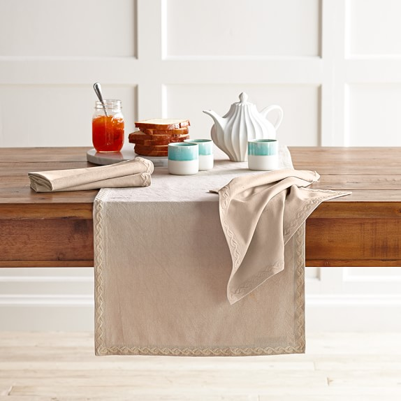 Chain Link Embroidered Table Runner, Flax
