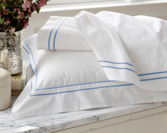 White Hotel Bedding, Sham, Each, Two-Line, King, Blue