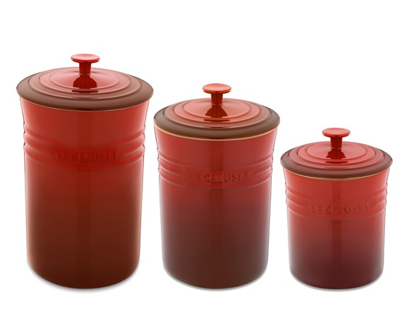 Le Creuset Enameled Stoneware Canisters, Set of 3