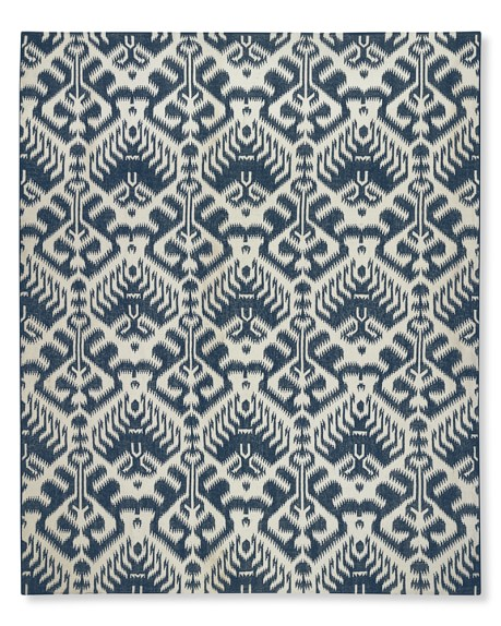 Ikat Medallion Indoor/Outdoor Rug, 8' X 10', Dress Blue/Egret