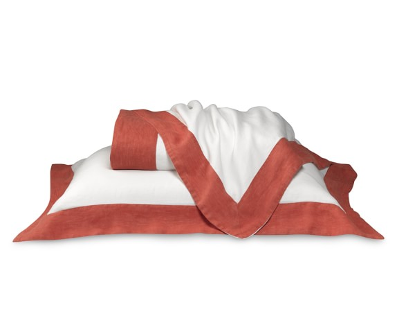 Chambers Washed Linen Border Bedding, Duvet, Full/Queen, Coral