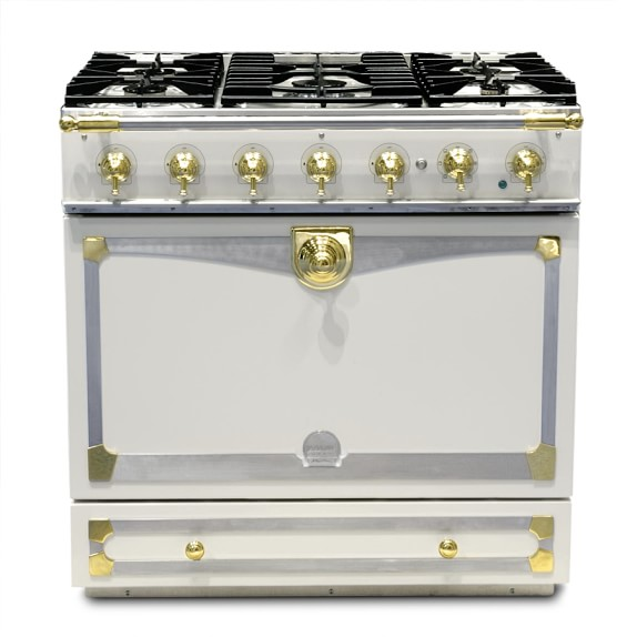 La Cornue Albertine Ivory Stove with Satin Chrome Polished Brass