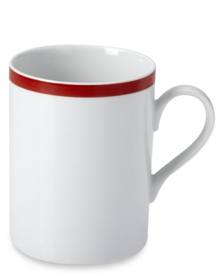 Brasserie Red-Banded Porcelain Mugs, Set of 4