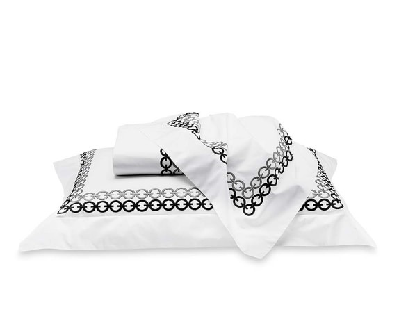 Chain Link Embroidered Bedding, Duvet, Queen, Black