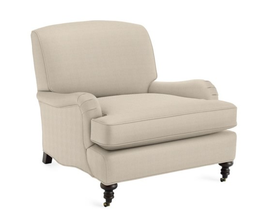 Bedford Chair with Standard Cushion, Linen/Cotton, Linen Cotton Cr, Oyster