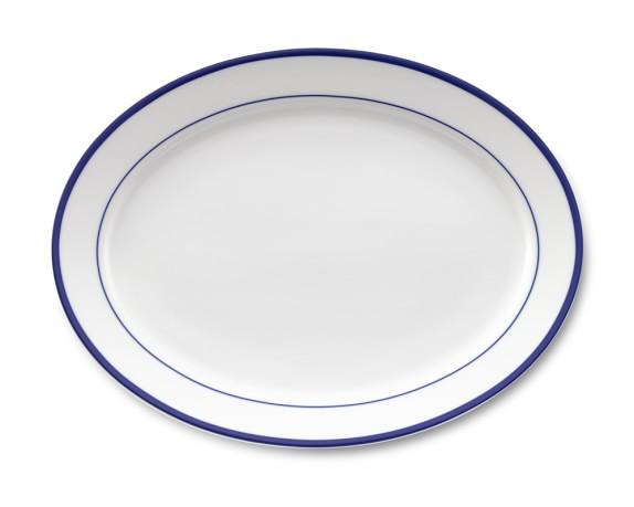 Brasserie Blue-Banded Porcelain Oval Platter, Blue