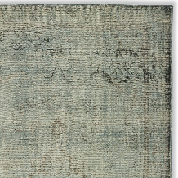 Hand-Knotted Antiqued Sky Rug Swatch