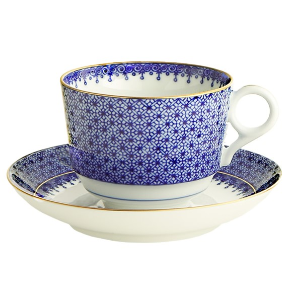 Mottahedeh Teacup and Saucer, Blue Lace