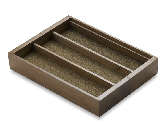 Walnut Expandable Utensil Tray