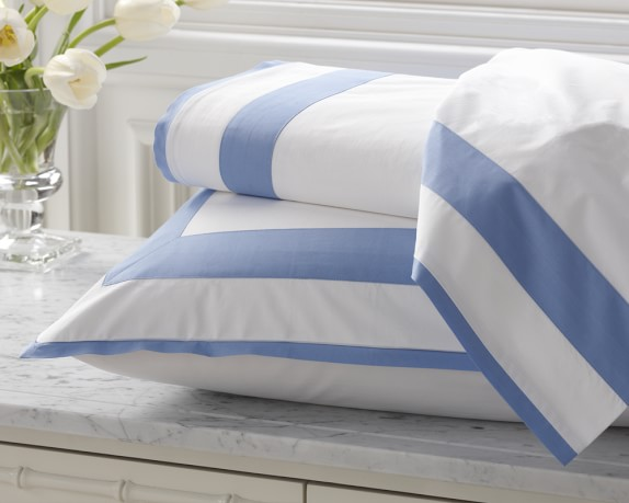 Percale Border Bedding, Duvet Cover, Full/Queen, Blue