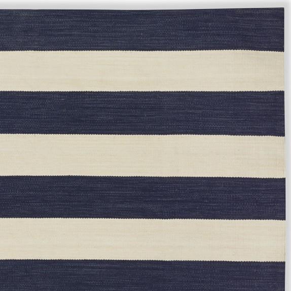 Patio Stripe Rug Swatch, Dress Blue & Egret