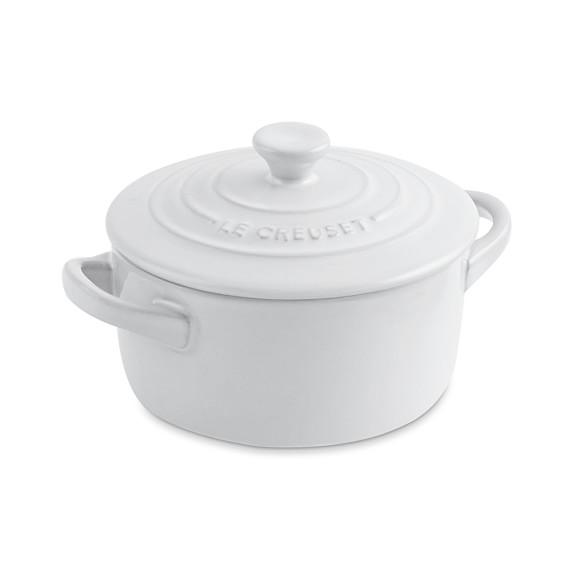 Le Creuset Stoneware Mini Round Cocotte, White
