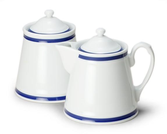 Brasserie Sugar Bowl & Creamer, Blue