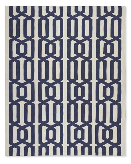Graphic Link Indoor/Outdoor Rug , 9' X 12', Dress Blue / Egret