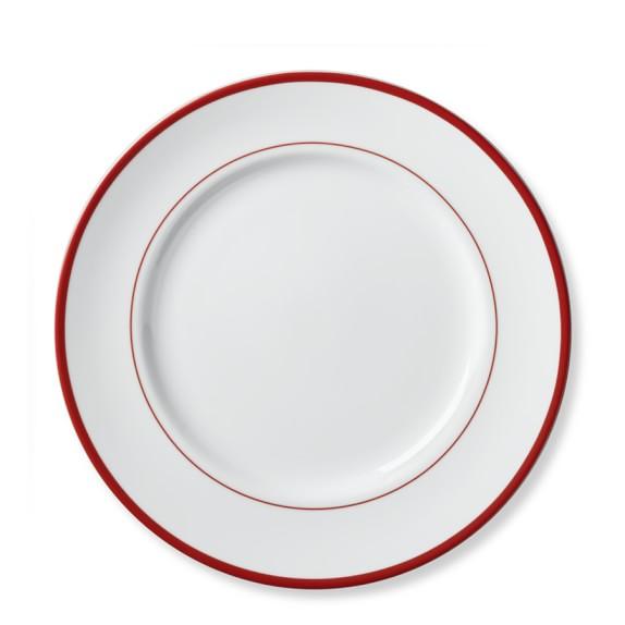 Brasserie Red-Banded Porcelain Dinner Plates, Set of 4