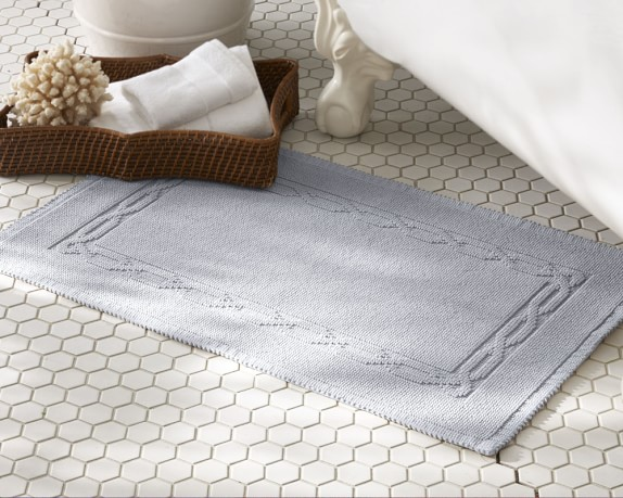 Chambers® Heritage Solid Bath Rug, Sky Blue