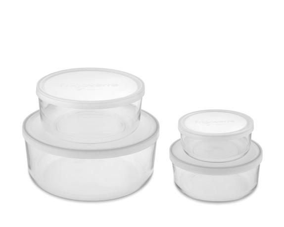 Bormioli Rocco Glass Storage Container Set, Round