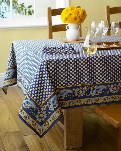 "Marseille Tablecloth, Navy, 70"" x 70"""