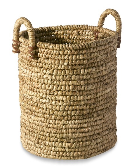 Woven Seagrass Basket with Leather, Small