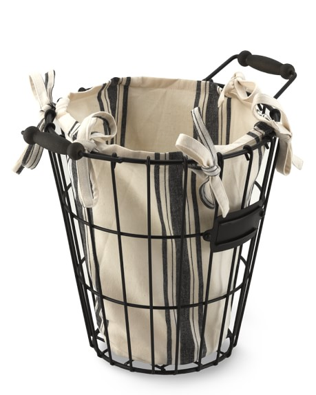 Round Wire Storage Basket & Liner, Small