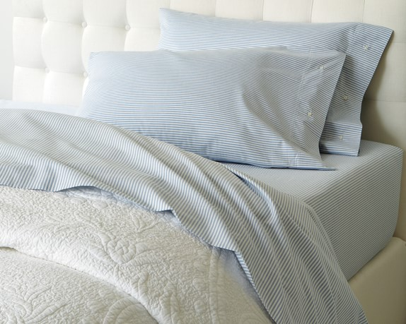 Everyday Luxury Oxford Sheet Set, Queen, Narrow Stripe, Light Blue