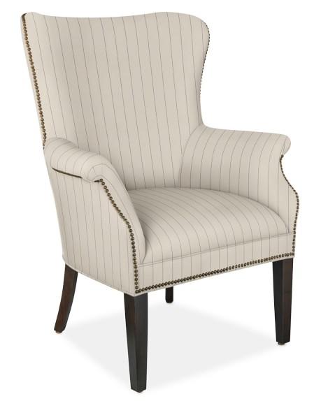 Michelle Chair, Antique Brass, Cotton/Polyester, French Stripe, Admiral