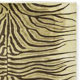 Hand Knotted Zebra Rug Swatch, Beige/Chocolate
