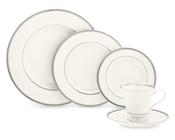 Pickard Signature Plain Margaret 5-Piece Place Set, Platinum