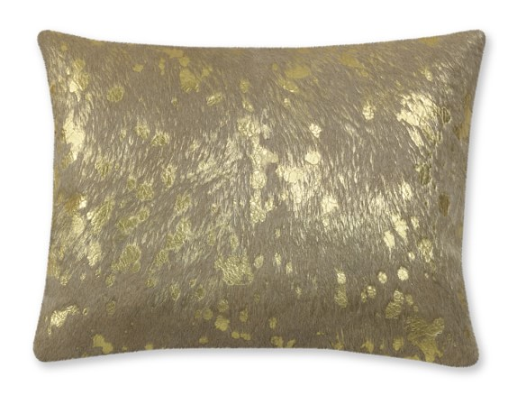 Solid Pillow With Metallic Gold Pillow Cover, 12