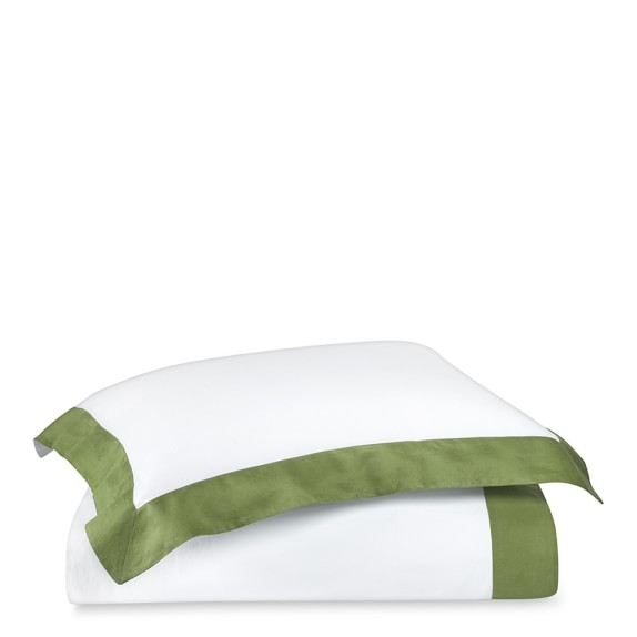 Chambers Washed Linen Border TOB Duvet, Queen, Green