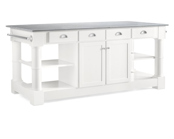 Barrelson Kitchen Island with Italian Basalt Top, Polished Nickel