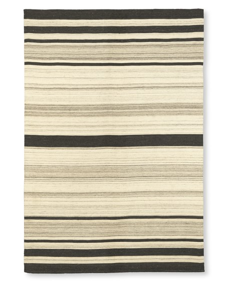 Saddle Blanket Variegated Striped Dhurrie Rug, 6x9', Neutral
