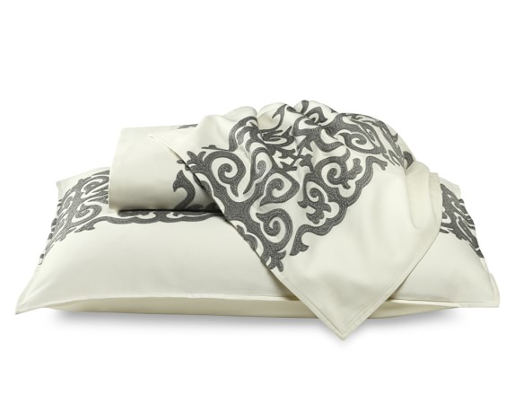 Tropez Sateen Bedding with Gray Embroidery, Duvet Cover, Full/Queen, Ivory
