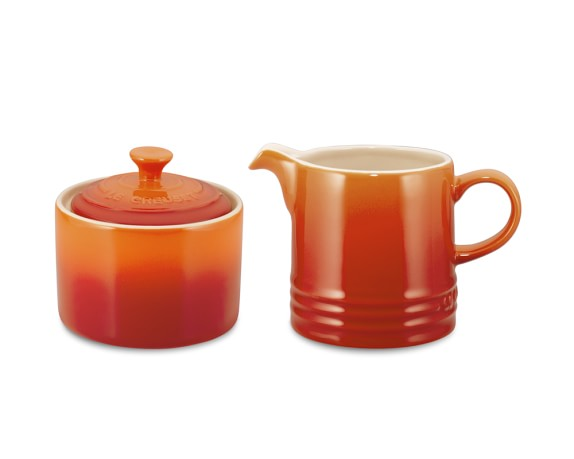 Le Creuset Café Stoneware Sugar Bowl & Creamer, Flame