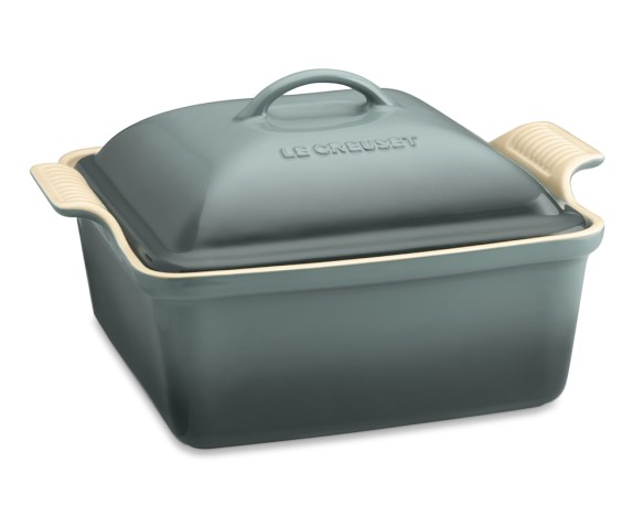 Le Creuset Heritage Stoneware Square Covered Casserole, Ocean, 4-Qt.