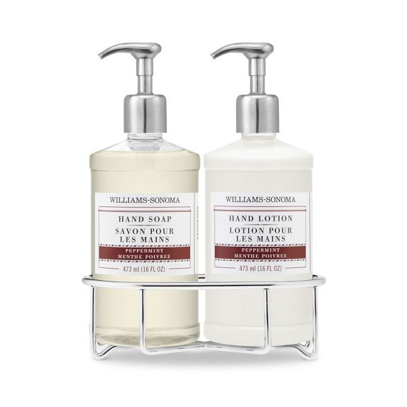 Williams Sonoma Essential Oils Deluxe Hand Soap & Lotion Gift Set with Wire Caddy, Peppermint
