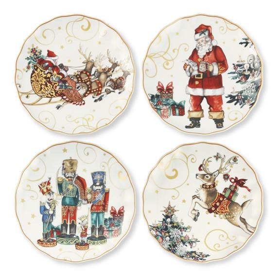Twas The Night Before Christmas Dinner Plates, Set of 4, Santa, Reindeer, Sleigh & Nutcracker