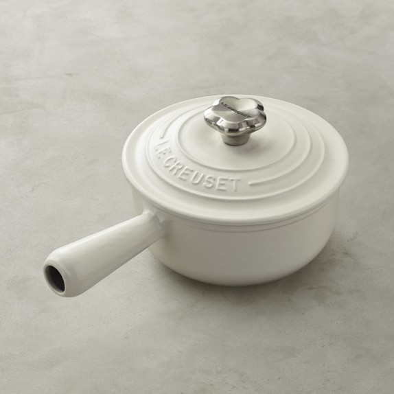 Le Creuset Mother's Day Sauce Pot with Flower Knob, Matte White