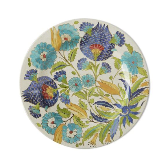 Iznik Tile Melamine Dinner Plates, Set of 4, Blue & Green Floral