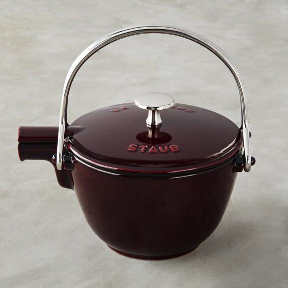 Staub Cast-Iron Round Tea Kettle, 1-Qt., Grenadine