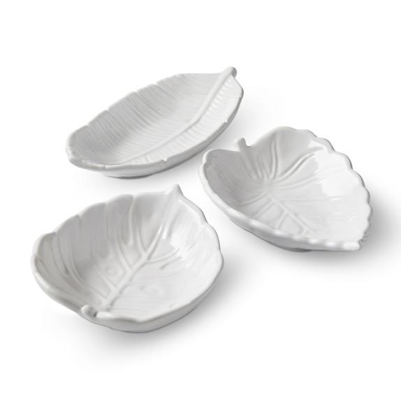 AERIN White Leaf Condiment Bowls, Set of 3